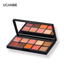 UCANBE Brand Professional Makeup Set 10 Warm Color Mineral Brick Red Eyeshadow Palette Natural Contour Nude Eye Shadow Palette