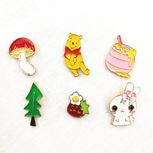 Timlee X040 Cartoon Oil Drop Bear Honey Mushroom Tree Brooch Pins Button Pins Girl Jeans Bag Decoration Gift  Bijoux Wholesale