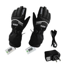USB Rechargable Electric Heating Women Men Gloves Skiing Winter Battery Heated Gloves Waterproof Sledge Motorcycle Ski Gloves(China)