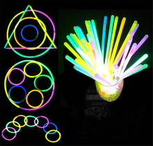 100pcs 7.8inch Multi Color Glow Fluorescence Light Sticks Bracelet Necklaces Light Neon Xmas Party LED Flashing Wand Novelty Toy
