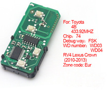 Brand New Replacement Remote Key Smart Card Remote Board 433.92MHz For Toyota Lexus Part# 271451-5290-Eur
