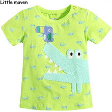 Little maven kids brand clothing 2016 new summer fashion baby boys clothes t shirt Cotton crocodile embroidered brand tops L059