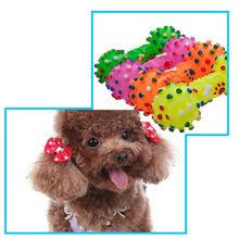 Hot 1Pc Cute Dog Cat Funny Sound Small Rubber Dumbbell Squeaker Chewing Play Toy Pets accessoies(China)