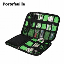 Portefeuille Cellphone Accessories Travel Bag Holder For iPhone 8 Plus 7 6S Cell phone USB Power Bank Cable Organizer Carry Case(China)