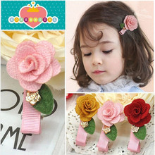 1Lot=6Pcs Girls Rose Red Hairpins Lovely Children Hair Accessories Mini Flower with Green Leaves Half Wrapped Kids Hair Clip