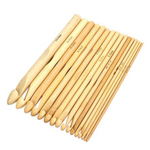 "wood 2016 hot sales 16 Sizes Set 6"" Bamboo Knitting Weave Needle Crochet Hooks Craft Tool 2.0-12.0mm Description free sales"
