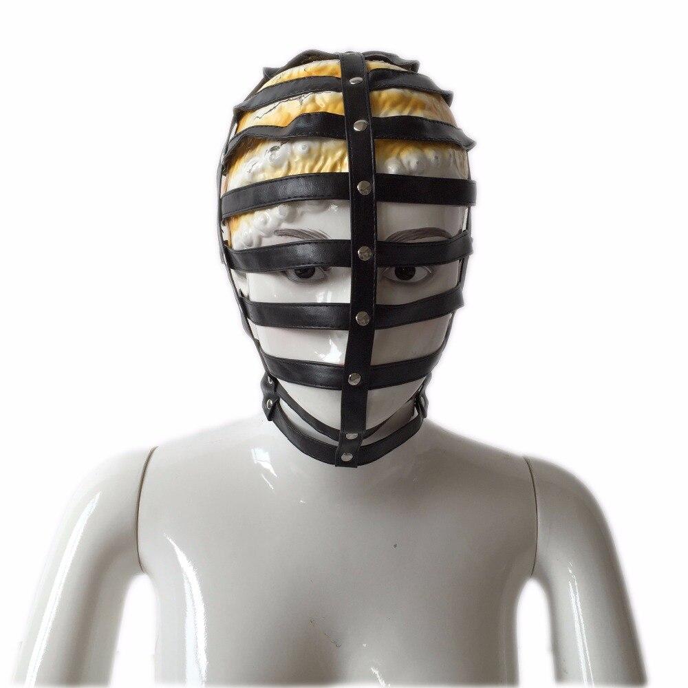 Black hollow out leather bondage bdsm set bondage restraint bdsm mask leather hood adjustable sex toys for couple adult game