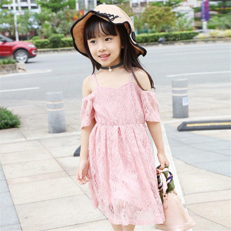 1pc Short Sleeve Lace Dresses For Girls Cute Solid Dress Korean Style Children Summer Vestidos Travel/Party Favor Vestido New<br><br>Aliexpress