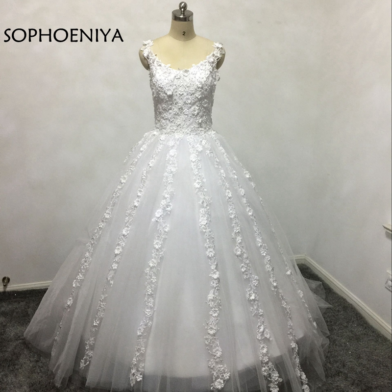 New Arrival V Neck Ball gown Wedding dresses 2018 Appliqued Lace Beaded Bride dress Vestido de noiva casamento Wedding gown