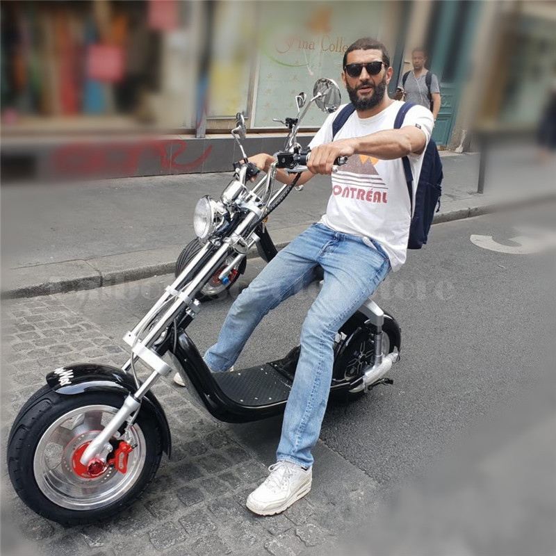 Electric Scooter Citycoco Two Wheels Electric Scooters Big Wheels 60V 1000W Harley Electric Scooter With Seat (2)