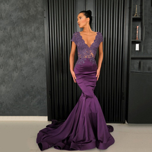 Long Purple Evening Dresses 2018 Elegant Mermaid Cap Sleeve Beaded Applique  Back Sheer Arabic Style Women ed401543979e
