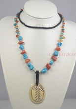 Vintage Look Dark Brown Exotic Ethnic Yak Bone Red Stone Tibetan Long Beads Chain Necklace(China)