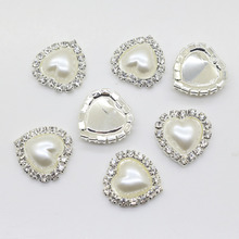 New 2016 HOT 10PCS/LOT white 18mm heart Flat Back Rhinestone button Crystal DIY Wedding Invitation gail hair Flower Accessory(China)