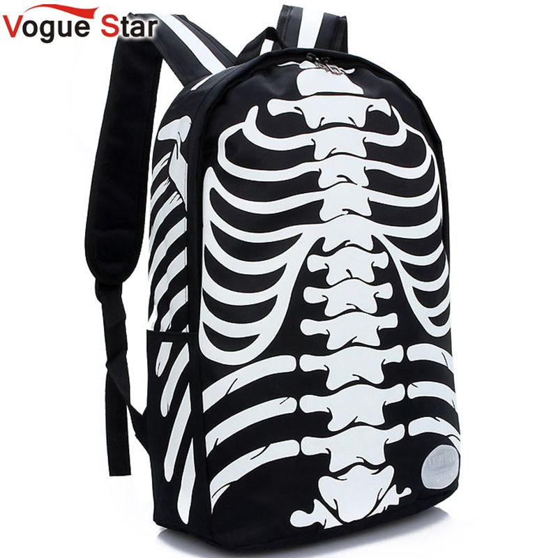 Vogue Star Fashion Canvas Punk Skull Printed Backpacks Waterproof Bookbag Canvas  Backpack Bag Boys Girls School Bag  YK40-574<br><br>Aliexpress