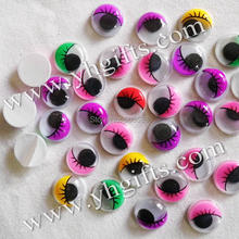 100PCS/LOT,15mm 5 colorful eyelash eyeball stickers,Plastic wiggle eyes,Doll eyes.Doll Accessories.Crafts material.onstock,OEM(China)