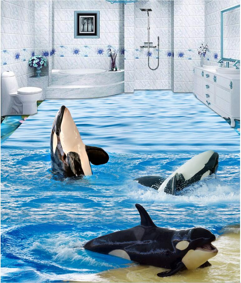 Custom photo 3d pvc flooring self adhesion The waves of the dolphins decoration painting 3d wall murals wallpaper for walls 3 d<br>