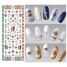 3Pcs Indian Style Vintage Cool Design Nails Art Sticker Water Transfer Nail Stickers Decals Nail Decoration Manicure Tools