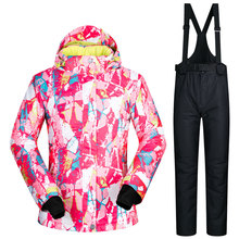 Hot sale snow jackets women ski suit set jacket and pants underwear outdoor skiing set windproof waterproof therma ski snowboard(China)