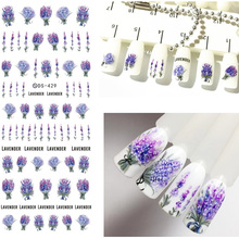 Purple Blooming Flower Stickers for Nails Lavender Stickers on Nails Flower Nail Art Water Transfer Stickers Decals ZJT097