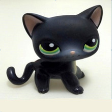 Lovely Pet SHOP Collection Figure Toy Black Short Hair Siamese Cat Blue Eyes #994 Nice Gift Kids