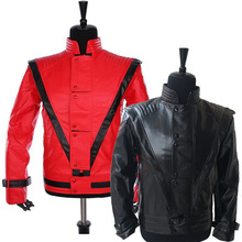 Rare Classic MJ MICHAEL JACKSON Costume Thriller Red & Black Jacket For Fans Imitator Best Gift Halloween Clothing