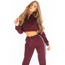 NIBESSER Candy Color Autumn Winter Long Sleeve Two Piece Sets Women Sets 2017 Fashion Patchwork Hooded Crop Top Tracksuit Ladies