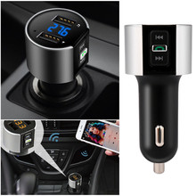 2017 NEW Car Charger Handsfree Wireless Bluetooth FM Transmitter LCD MP3 Player USB Charger Quick Charge Dual USB Port 5V/3.4A(China)