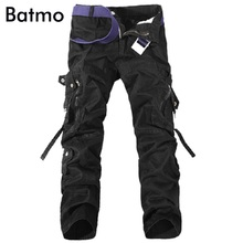 Batmo 2018 new arrival autumn cotton black cargo pants men Military trousers