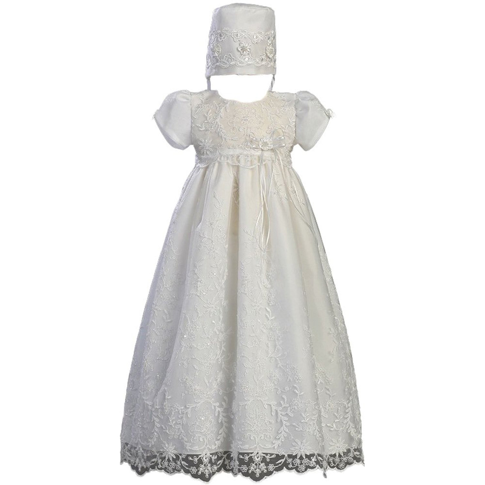With Hat Hot Baby Girl Party Dress Birthday O-Neck Lace Short Sleeves Baby Girl Christening Baptism Dresses Vestidos Infantis<br><br>Aliexpress