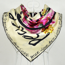 "2015 Chritsmas Gift Ladies's Beige Mulberry Silk Twill Scarf Printed Fashion Hot Sale Brand ""H"" Style Design Silk Scarves Wraps"