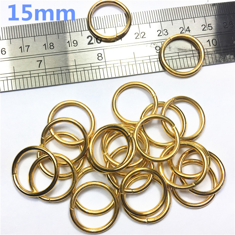 4-  15mm gold Non Welded Metal O Ring Nickel&Black Nickel Plated Backpack Collar Harness Rings Bag Parts Accessories