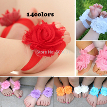 Wholesale 40Pair/lot Baby Footwear Barefoot sandals Frayed Shabby Chiffon Flower shoes 14Color baby kids shoes