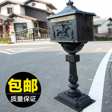 upright Cast Iron Mailbox Postbox Mail Box Wall Mount Metal Post Letters Box Rustic Country Cast Iron Mail Box(China)