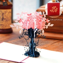 Thank You Cards Postcard with Envelopes 3D pop up Paper Laser Cut Birthday greeting card Valentines Day gift for lover Flowerpot(China)