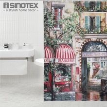 1PCS 180*180cm Retro Coffee House Shower Curtain Mouldproof Waterproof Bath Curtain For Bathroom 1 PCS(China)