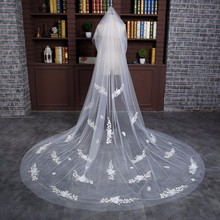 Free Shipping 3 Meters Long New Arrival Long One Layer White Bridal Veils With Comb Appliques Flowers Veils Bridal Accessory