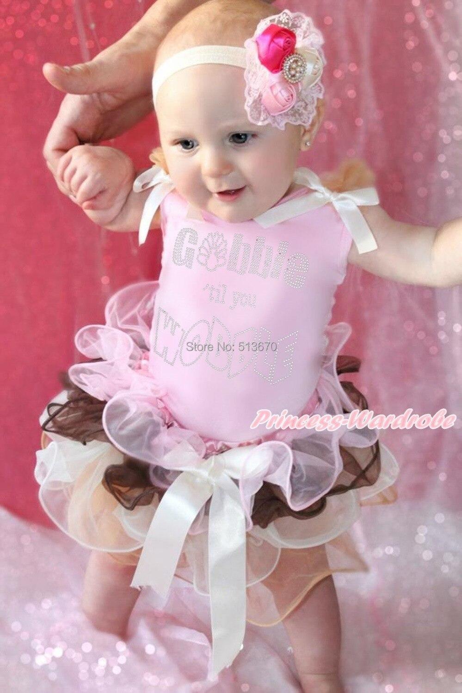 Thanksgiving Rhinestone Gobble Wobble Pink Top Baby Girl Petal Pettiskirt NB-8Y MAPSA0007<br>