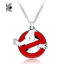 Free Shipping GHOSTBUSTERS LOGO NECKLACE Movie 80s Eighties Kitsch Vintage Ghost Bill Murray Gift For Fans Movie Jewelry