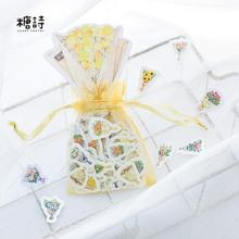 100 pcs/pack Waterproof Flowers Bouquet Organza Bag Decorative Stickers Adhesive Stickers DIY Decoration Craft Scrapbooking
