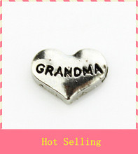 Hot selling 20pcs/lot silver heart grandma floating charms living glass memory floating lockets diy jewelry