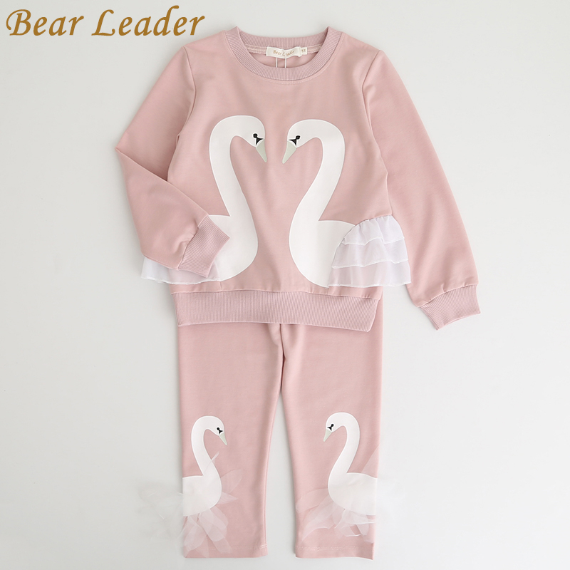 Bear Leader Girls Clothing Sets 2017 New Autunm Sets Children Clothing Lovely Swan Lace Design Sweatshirts+Pants Suit For 3-7Y(China (Mainland))