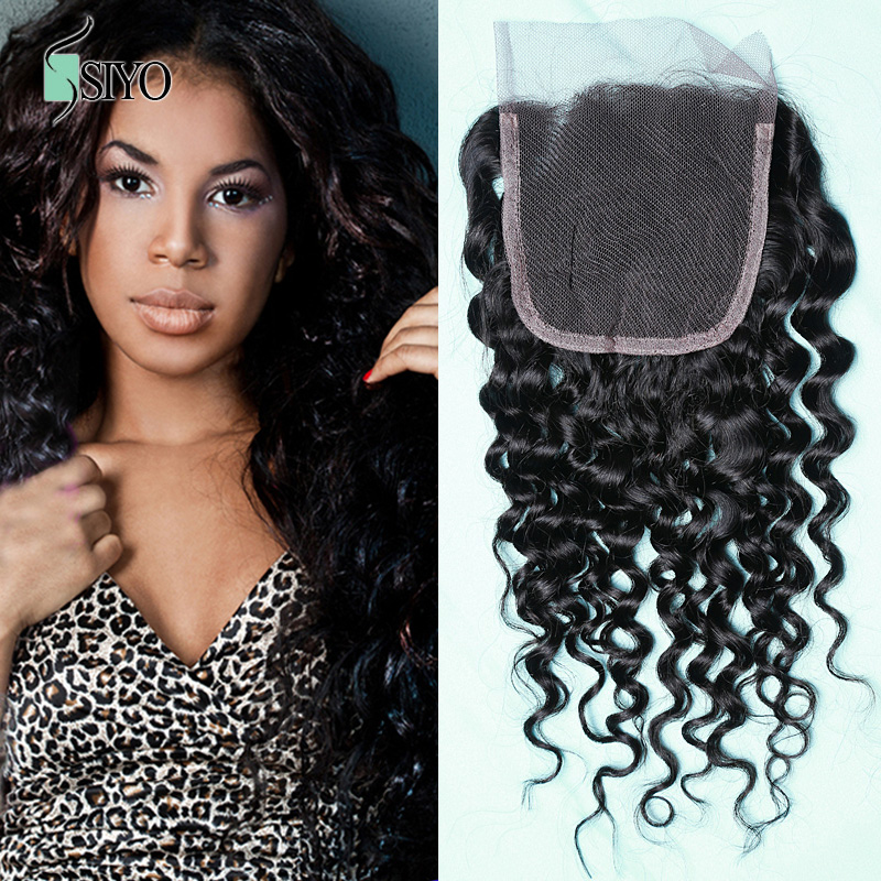 8A Brazilian Virgin Hair Water Wave Lace Closure 4x4 Brazilian Human Hair Water Wave Closure 1Pc Siyo Hair Products<br><br>Aliexpress