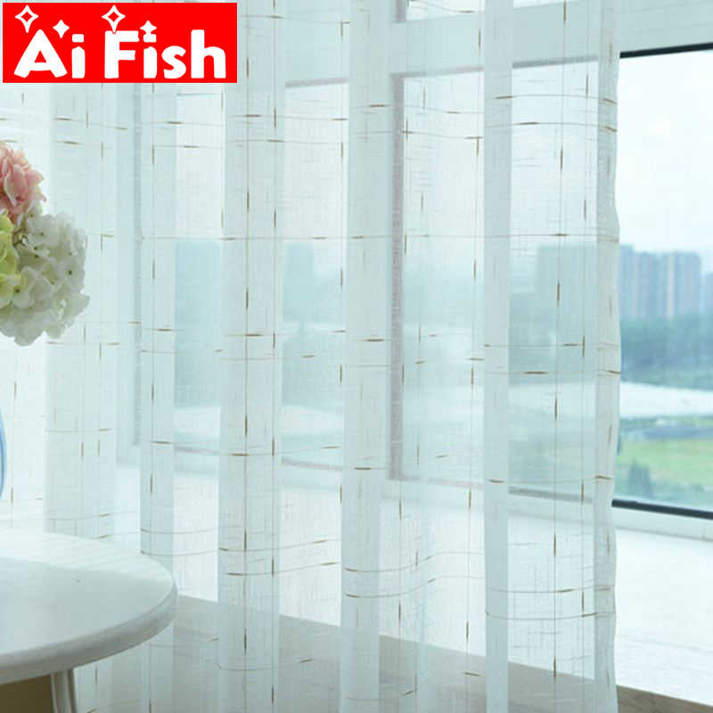 Customize Solid White Linen Voile Panel Sheer for Window Modern All-match Tulle for the living room Kitchen Textile AP038-40