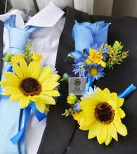 Handmade artificial flower wedding flower groom corsages corsage blue sunflower daisy rose