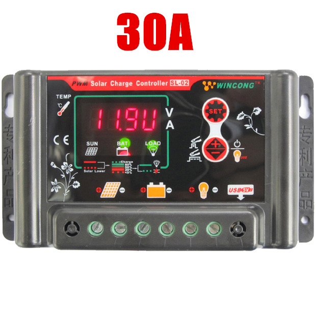 30A Digital PWM Solar Charge Controller Regulator 12V 24V Auto switch,Solar Panel controller usb 5v power Cell phone charger<br><br>Aliexpress