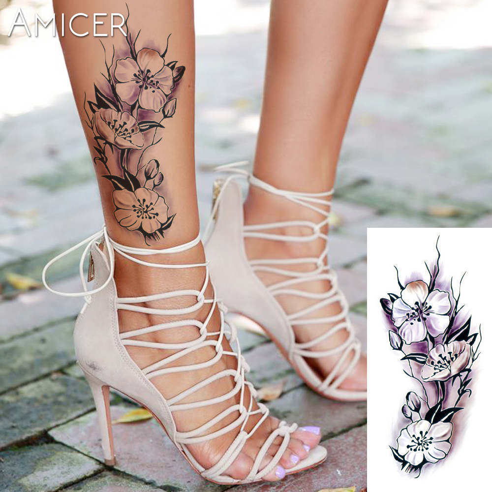 3D lifelike Cherry blossoms rose big flowers Waterproof Temporary tattoos women flash tattoo arm shoulder tattoo stickers 4