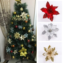 Christmas Flowers Tree Decor Pendant 17cm Gold/Silver/Red Xmas Flocking Flower Artificial Floral Decoration Hot Sale