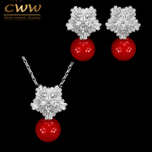 CWW New Fashion Jewelry Cubic Zircon Flower Big Red Pearl Pendant Necklace And Earrings Set For Ladies Best Friend Gift T209(China)
