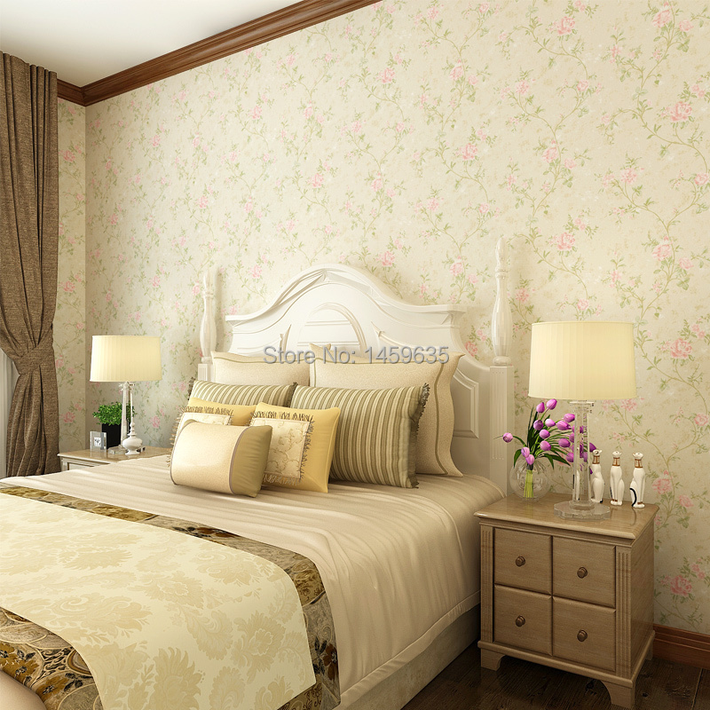 American country pastoral romantic bedroom living room with small floral wallpaper<br><br>Aliexpress