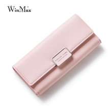 Winmax 2017 New Elegant Leather Wallet Women red Fashion Ladies princess pink Change Purse cute long Hot Female Clutch Carteras